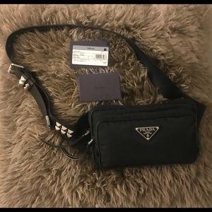 Authentic Prada Vela Studded Belt Bag